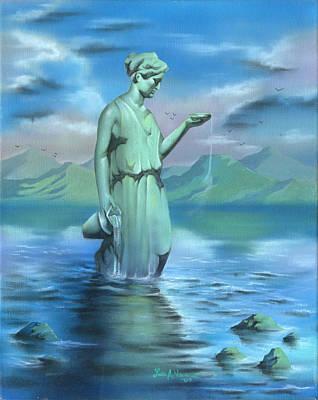 Zodiac Painting - Aquarius by Luis  Navarro
