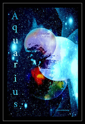 Universe Painting - Aquarius Sign Of The Zodiac by Sherri  Of Palm Springs