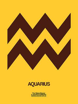 Signed Digital Art - Aquarius Zodiac Sign Brown by Naxart Studio