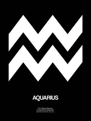 Virgo Digital Art - Aquarius Zodiac Sign White by Naxart Studio