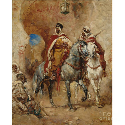 Donkey Painting - Arab Horsemen Before A City Gate by Celestial Images