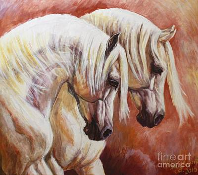 Equestrian Artists Painting - Arab Horses by Silvana Gabudean
