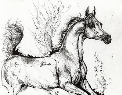 Arabian Horse Drawing 1 Print by Angel  Tarantella