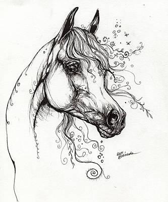 Arabian Horse Drawing 9 Print by Angel  Tarantella