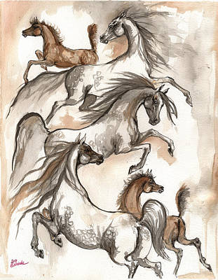 Arabian Horses Ink Painting 2014 04 12 Original by Angel  Tarantella