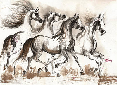 Arabian Horses Ink Painting 2014 04 16 Original by Angel  Tarantella