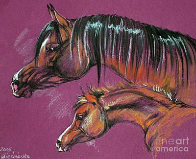 Arabian Mare And Foal Print by Angel  Tarantella