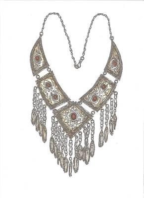 Arabian Necklace Coloured Print by Gloria Hunter