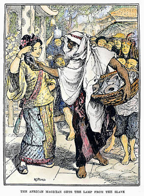 Oil Lamp Drawing - Arabian Nights Magician by Granger