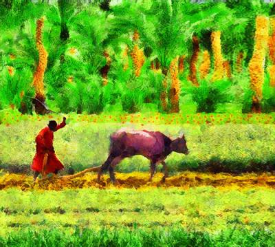 Animals Painting - Arabian Plowing by George Rossidis
