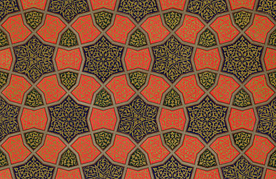 Mosaics Drawing - Arabic Decorative Design by Emile Prisse dAvennes