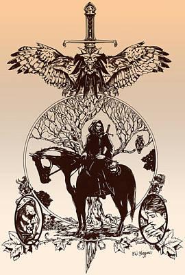 Wizard Drawing - aragorn-Tolkien appreciation by Derrick Higgins