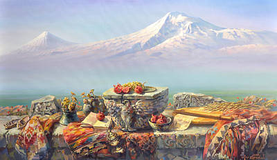 Culture Painting - Ararat With A Lavash by Meruzhan Khachatryan