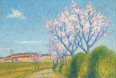 Apple-blossom Painting - Arbes En Fleurs A L'entree De Cailhavel by Achille Lauge