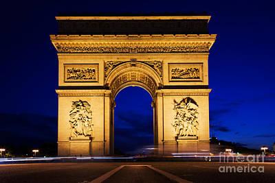Stone Photograph - Arc De Triomphe At Night Paris France by Michal Bednarek