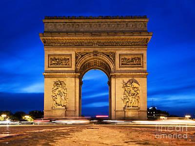 Stones Photograph - Arc De Triomphe At Night Paris France  by Michal Bednarek
