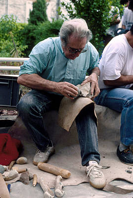 Jacques Photograph - Archaeologist Knapping Flint Stone Tool by Philippe Plailly
