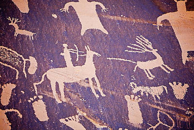 Archaic Petroglyphs At Newspaper Rock Print by Buddy Mays