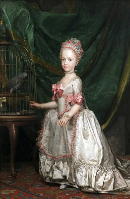 Anton Raphael Mengs Painting - Archduchess Maria Teresa Of Austria With A Caged Parrot by Anton Raphael Mengs