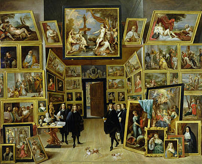Self-portrait Photograph - Archduke Leopold Wilhelm 1614-61 In His Picture Gallery, C.1647 Oil On Copper by David the Younger Teniers