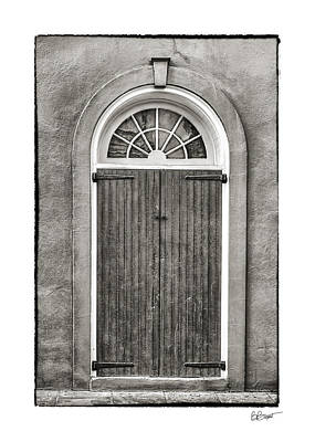 Photograph - Arched Door In French Quarter In Black And White by Brenda Bryant