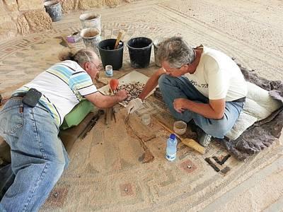 Archeologists Restore A Mosaic Floor Print by Photostock-israel