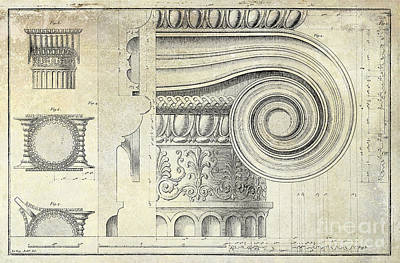Capital Drawing - Architectural Capital by Jon Neidert