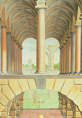 Person Drawing - Architectural Capriccio by Jacobus Saeys