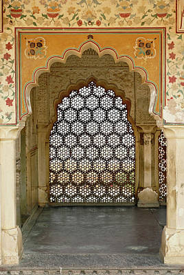 Painted Hall Photograph - Architectural Details, Amber Fort by Adam Jones