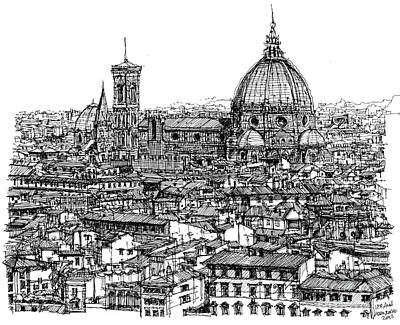 Skyscrapers Drawing - Architecture Of Florence Skyline In Ink  by Adendorff Design