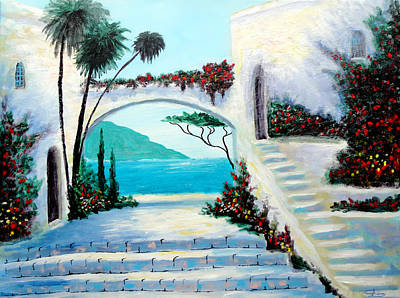 Greece Painting - Archway  By The Sea by Larry Cirigliano