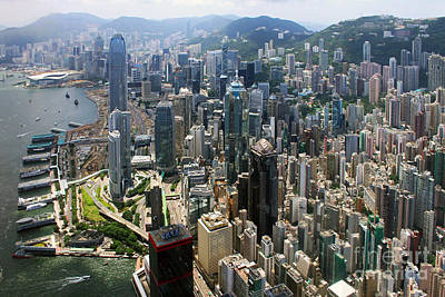 Helicopter Photograph - Areal View Over Hong Kong by Lars Ruecker