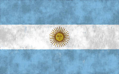 Argentina Flag Print by World Art Prints And Designs