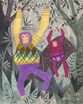 Chimpanzee Drawing - Argyle And Underpants by Kate Cosgrove