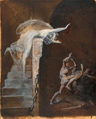 Minotaur Drawing - Ariadne Watching The Struggle Of Theseus With The Minotaur by Henry Fuseli
