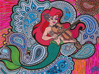 Ariel And Her Violin Print by Keri Costello