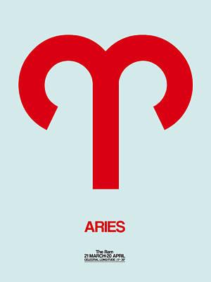 Signed Digital Art - Aries Zodiac Sign Red by Naxart Studio
