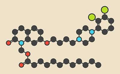 Aripiprazole Lauroxil Drug Molecule Print by Molekuul