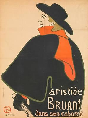 Bohemian Drawing - Aristide Bruant In His Cabaret, 1893 by Henri de Toulouse-Lautrec
