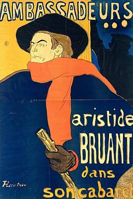 Aristide Bruant In His Cabaret Print by Toulouse-Lautrec