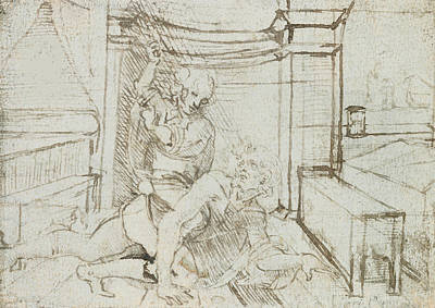 Masochism Drawing - Aristotle And Phyllis by Leonardo Da Vinci