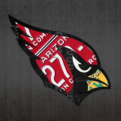 Cardinal Mixed Media - Arizona Cardinals Football Team Retro Logo License Plate Art by Design Turnpike