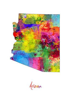 Phoenix Digital Art - Arizona Map by Michael Tompsett