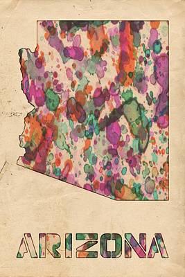 Watercolor Map Painting - Arizona Map Vintage Watercolor by Florian Rodarte