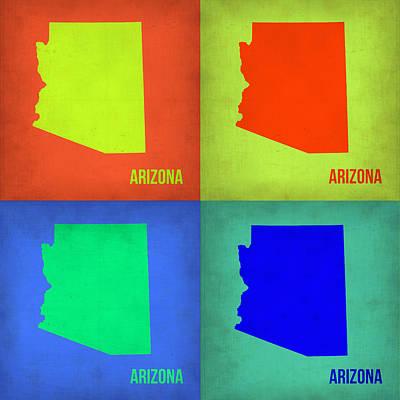 Arizona Painting - Arizona Pop Art Map 3 by Naxart Studio