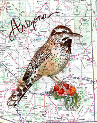 Wren Mixed Media - Cactus Wren   Arizona State Bird by Cherri Lamarr