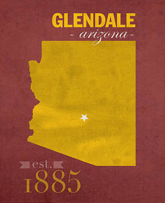 Universities Mixed Media - Arizona State University Sun Devils Glendale College Town State Map Poster Series No 012 by Design Turnpike