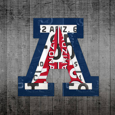 University Of Arizona Mixed Media - Arizona Wildcats College Sports Team Retro Vintage Recycled License Plate Art by Design Turnpike
