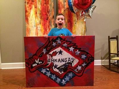 Arkansas Razorbacks Art Painting - Arkansas Razorback And Flag by Lauren Meredith