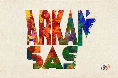 Arkansas Digital Art - Arkansas Typographic Watercolor Map by Ayse Deniz